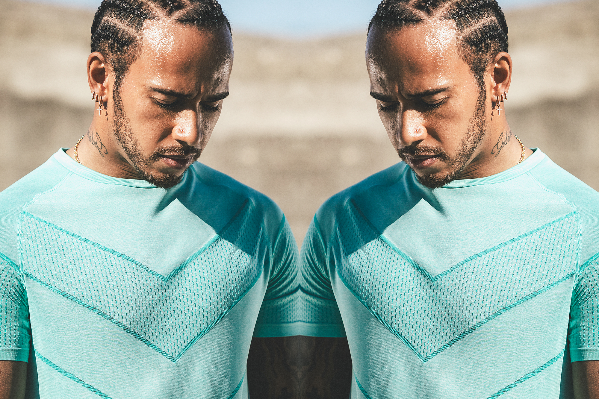 Lewis Hamilton Formula 1 champion in PUMA LQD Cell Shot portrait