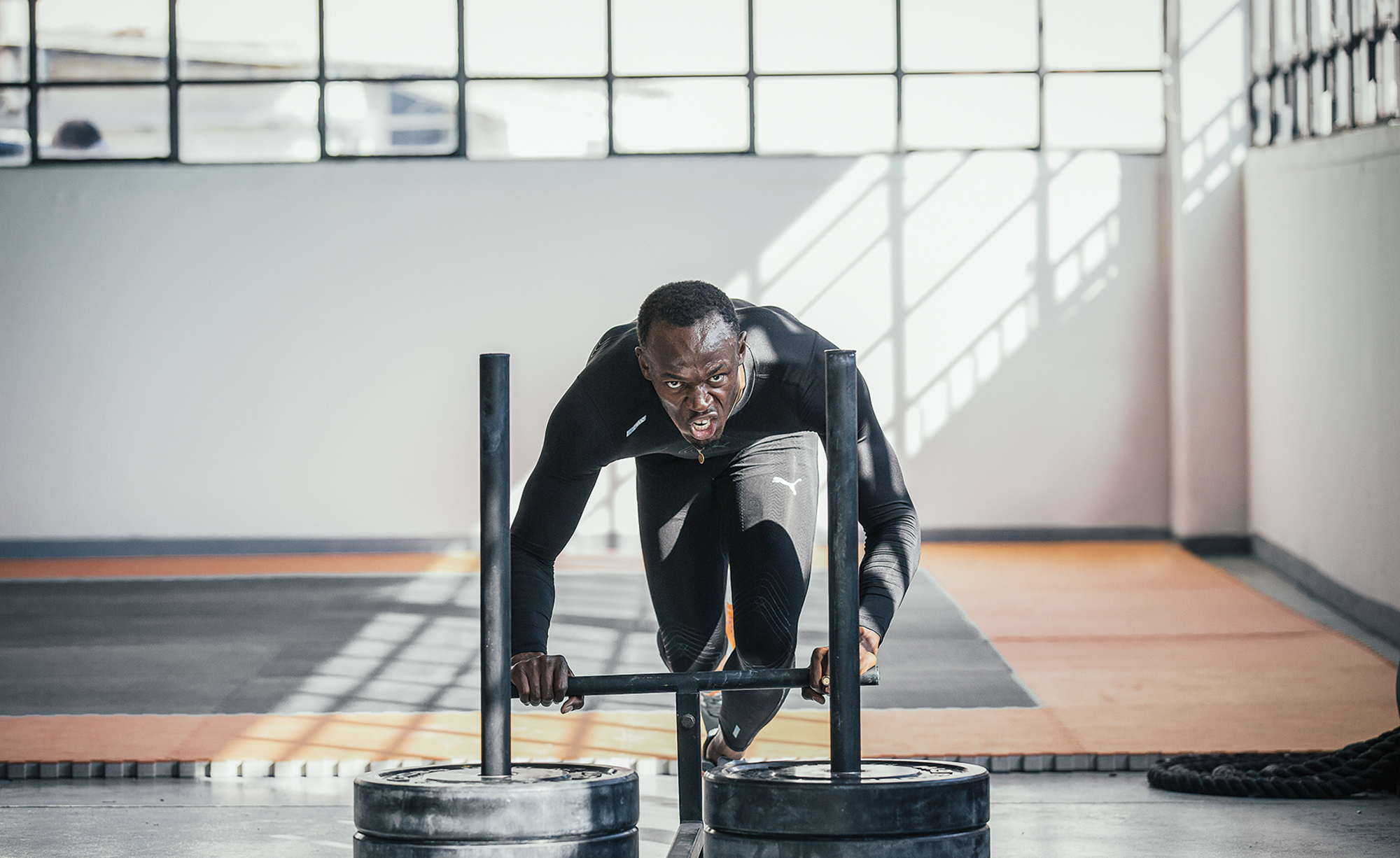 Usain Bolt working out. Photographed in Milan Italy for PUMA Runnign and Training